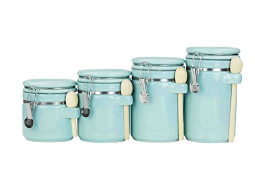 4PC Ceramic Canister Set W/Spoon (Turquoise)