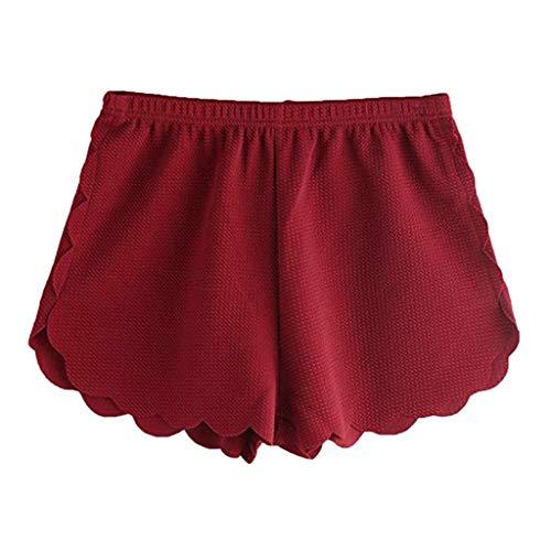 VLDO Women Summer Loose Solid Elastic Waist Scalloped Casual Chiffon Shorts Pants(S,Red) -