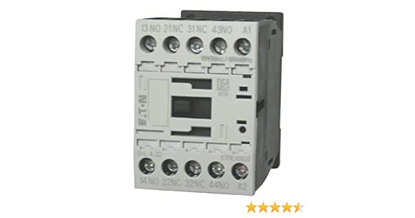 base contacts rated for 16 AMPS and mounts on standard 35mm DIN rail Comes with 4 N.O Eaton // Moeller DILA-40 4 pole control relay with a 24 volt AC coil