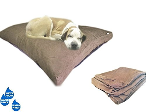 eConsumersUSA 40''x35'' Microsuede Brown Large Size Mixed Shredded Memory Foam Premium Overfilled Pet Dog Orthopedic Pillow Bed with Waterproof -Resistant Inner Cover + FREE 2nd External Cover