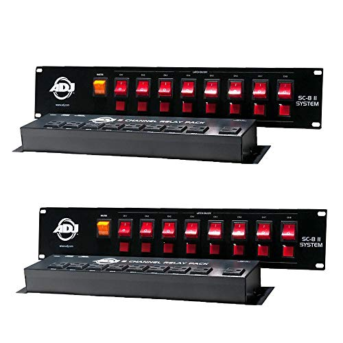 American DJ SC-8 II System 8 Ch Low Voltage Switch Controller w/Relay (2 Pack)