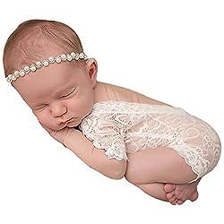 Unisex Baby Jumpsuit, Lace Photography Prop Romper Princess Clothes, 100% Lace (White)
