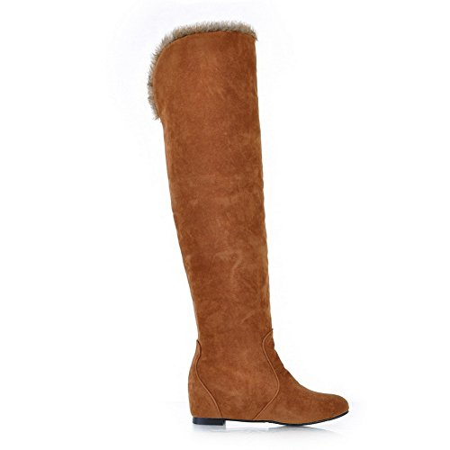 AdeeSu Womens Anti-Skidding Bottom Kitten-Heels Round Toe Frosted Boots Brown 7w189