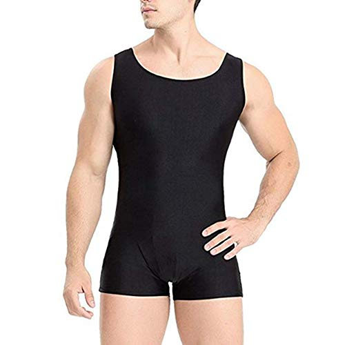 Agoky Adult Men's Lycra Spandex Short Tank Unitard Bodysuit Sports Workout Biketard Bodyshaper Black Large