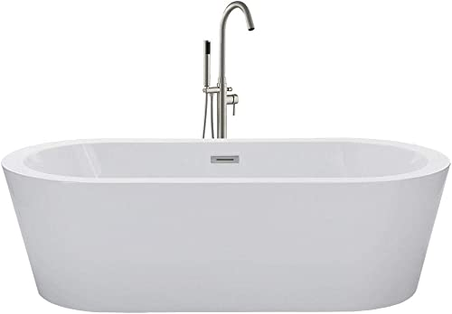 WOODBRIDGE Acrylic Freestanding Bathtub Contemporary Soaking Tub with Brushed Nickel Overflow and Drain, BTA1504, 67 B-0002 without Faucet