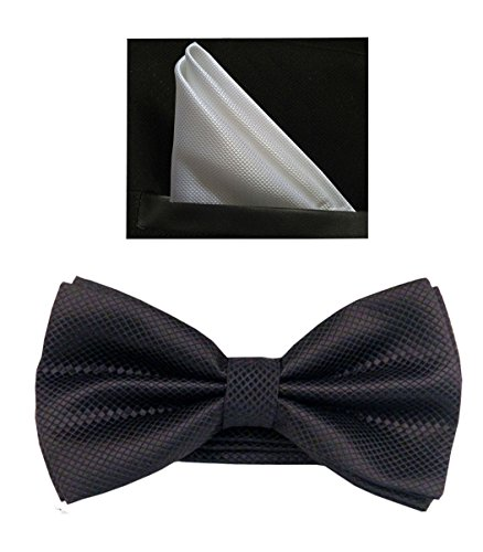 Tuxedo Banded Pre-Tied Bow Tie Set (One Size, Black+White) ()