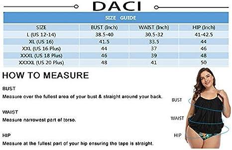 Daci Womens Plus Size Tankini Swimsuits Blouson Swimwear Double Up Two Piece
