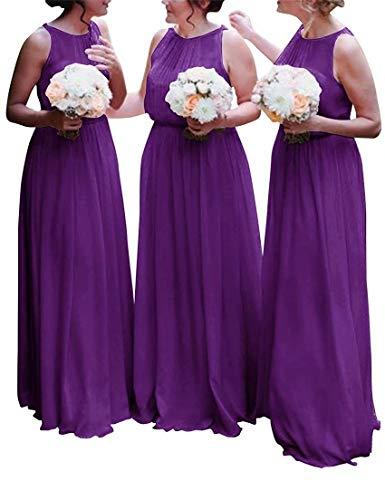 e3db2d3cdb3e9 Women's Modest Chiffon Bridesmaid Dresses Long Boho Wedding Party Dresses  Maid of Honor Gowns Purple US2