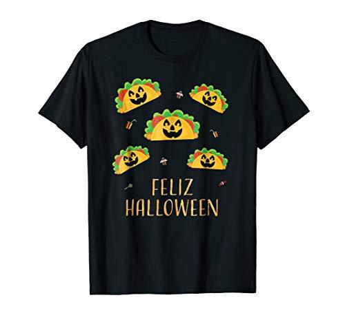 Feliz Halloween Mexican Taco Food Pumpkin Pun Shirts -