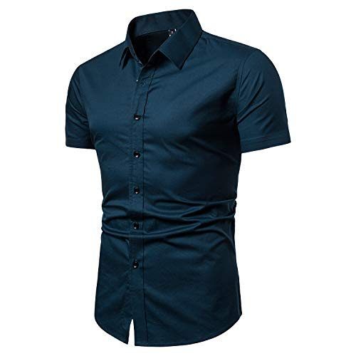 (LOCALMODE Men's Slim Fit Cotton Business Casual Shirt Solid Short Sleeve Button Down Dress Shirts (Small, Acid)