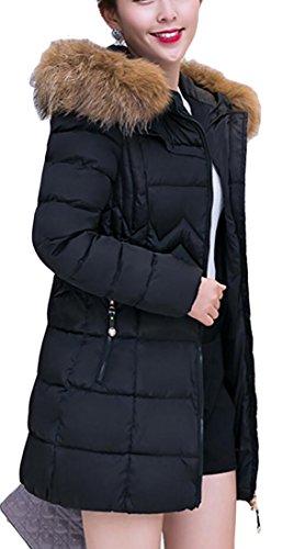 Slim Solid Black Down Coat Warm Fur Women Fit Color Collar Length Generic Mid t715wq