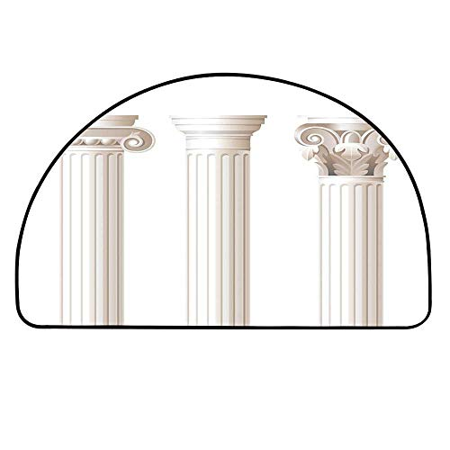 YOLIYANA Pillar Decor Half Round Door Mat,Architecture Theme Design Ionic Doric and Corinthian Marble Columns Digital Print for Indoor Outdoor,11.8