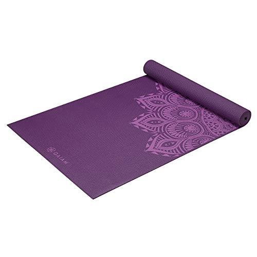 Gaiam Yoga Mat Premium Print Extra Thick Non Slip Exercise & Fitness Mat for All Types of Yoga, Pilates & Floor Exercises, Purple Mandala, 5/6mm