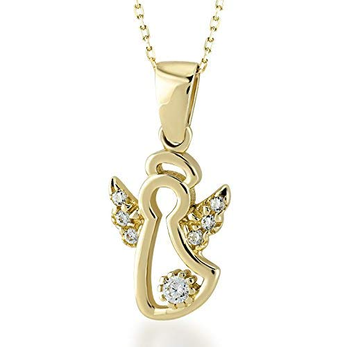 GELIN 14k Yellow Gold CZ Protector Angel Wings Pendant Chain Necklace for Women, 18