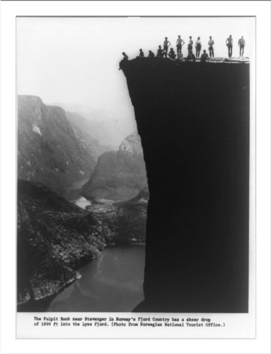 (Historic Print (L): The Pulpit Rock near Stavanger in Norway's fjord country ...)