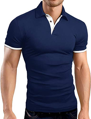 KUYIGO Men's Short Sleeve Polo Shirts Casual Slim Fit Basic Designed Cotton Shirts Large Navy ()