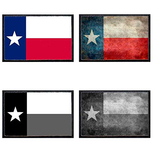 Texas State Flag - 4 Pack - Pull Patch Tactical Moral Patches for Hats & Caps  3 x 2 - Hook & Loop Fastener  Works w/VELCRO Loop fasteners  Premium Quality Hi-Res Printing Detail