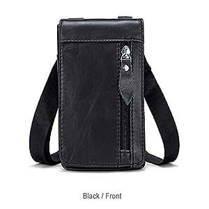 Retro Fashion Leisure Style Fanny Pack Lightweight Genuine Leather Men's Business Shoulder Bag Messenger Bag Waist Bag with 3 Pockets Set for Travel,Black