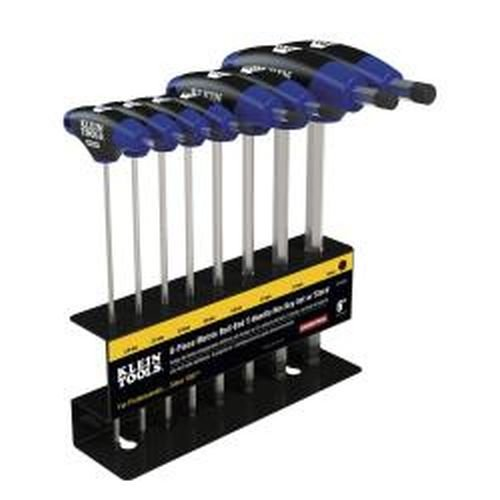 Klein Tools JTH68MB Metric Ball-End T-Handle Hex Key Set with Stand, 6-Inch (8-Piece) (Metric Ball Hex Key T-handle)