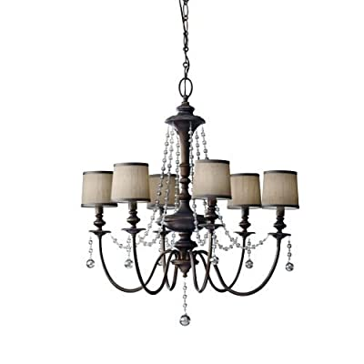 Feiss F2722/6 Clarissa 6 Light Chandelier with Beaded Accents,