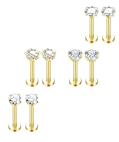 FUNRUN JEWELRY 4 Pairs 316L Stainless Steel 16G Lip Rings Labret Monroe Nose Studs Helix Earring Piercing 6mm Bar Length Gold tone ()