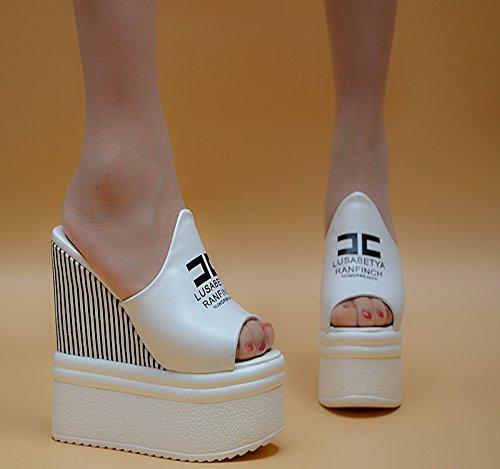 XiaoGao 14 cm de tacón alto de estilo zapatillas,Blanco