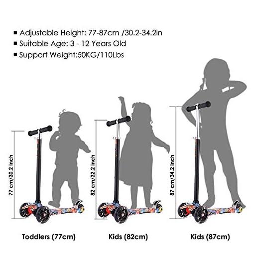 Hikole Trottinettes à Trois Roues Trottinette Tricycle pour Enfants avec Roues PU Lumineuses et 3 marches Hauteur réglable Double Roue arrière Trottinette Grande Roue pour Enfants de 3 à 12 Ans