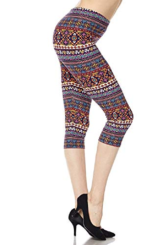 New Mix Woman Super Soft and Cute Woman Super Soft and Cute Popular Print Capri Leggings (One Size (Size 0-14), Kaleidoscope Stripe)