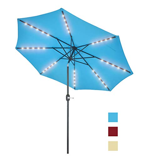 Patio Watcher 9 Feet Solar Umbrella 40 LED Lighted Patio Umbrella Outdoor Umbrella Market Table Umbrella with Push Button Tilt and Crank, 8 Steel Ribs, Blue