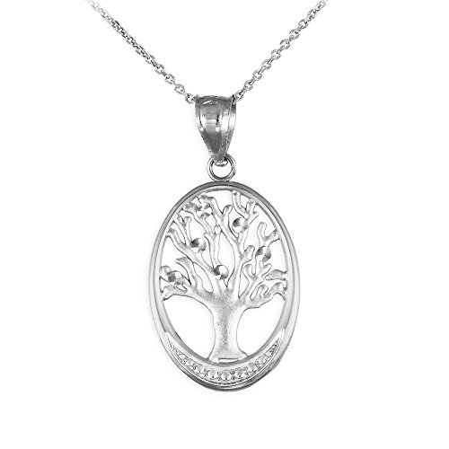 925 Sterling Silver Cut-Out Oval Tree Of Life Pendant Necklace, 20