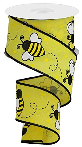Wired Ribbon Bumblebee Print Yellow Black White on Royal Canvas 2.5