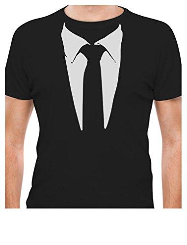 Suit T-shirt - Tuxedo Tie Printed Suit Men's T-Shirt XX-Large Black