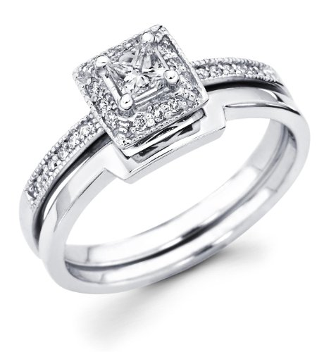 14k White Gold Solitaire Princess Cut Diamond Bridal Engagement