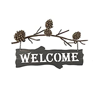 DEI Country Pinecone Welcome Sign, 17-Inch (25617) 120