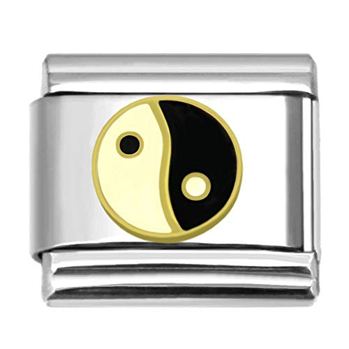 SilverAndJewelry Yin Yang Italian Charm 9 mm Stainless Steel Bracelet Link