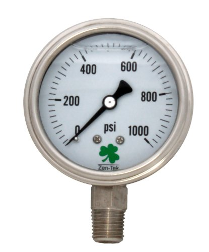 Zenport SSLPG1000 Zen-Tek Liquid Filled Stainless Steel Pressure Gauge, 0-1000 PSI, Box of 10 by Zenport