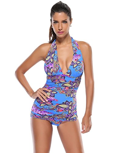 Kathlena Ruched V Neck Backless Floral One Piece Swimsuit Swimdress(FBA) (V-neck Swimdress Swimsuit)