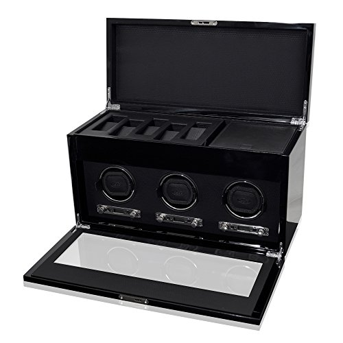 WOLF 454770 Savoy Triple Watch Winder with Cover and Storage, Black by WOLF (Image #2)