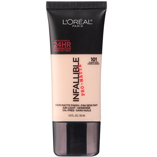 L'Oréal Paris Makeup Infallible Pro-Matte Foundation, 101 Classic Ivory, 1 fl. oz.