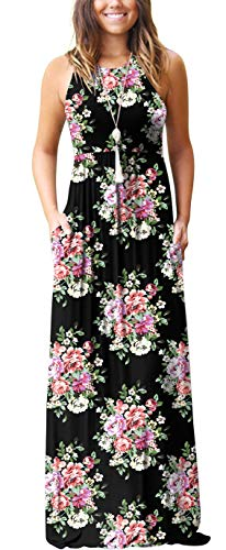 GRECERELLE Women's Summer Sleeveless Racerback Loose Plain Maxi Dress Floral Print Casual Long Dresses with Pockets Black-L (Black Jacket Casual Women)