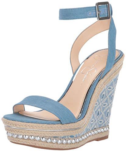 Jessica Simpson Women's ALINDA Wedge Sandal Denim Blue 8.5 M US