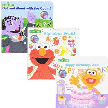 Download Sesame Street Board Book Scratch-N-Sniff Set of 3 (Happy Birthday, Zoe) (Out and About with the Count) (Alphabet Fruit) PDF