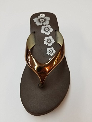 Bobee Womens 2 Shiny Strap Floral Design Wedge Platform Beach Flip Flop Sandals Bronze avJPo