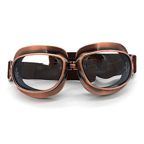Evomosa Motorcycle Goggles Retro Vintage Motocross Off-Road ATV Pilot Goggle Eyewear Sports Glasses Snowboard Ski Bikes Helmet Goggles (Copper, Clear)