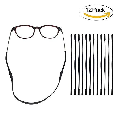 Colossal ship Anti-slip Glasses Strap for kids Sports Glasses Holder for child's Silicone Eyeglass Chains 12 pack (Black)
