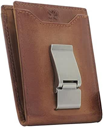 HOJ Co. Deacon ID BIFOLD Front Pocket Wallet BROWN - Money Clip Wallet - Exterior ID Window