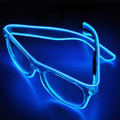 Kiddie Christmas Costumes (El Wire Glow Sun Glasses Multicolor Led Frame Flashing Glasses (Blue))