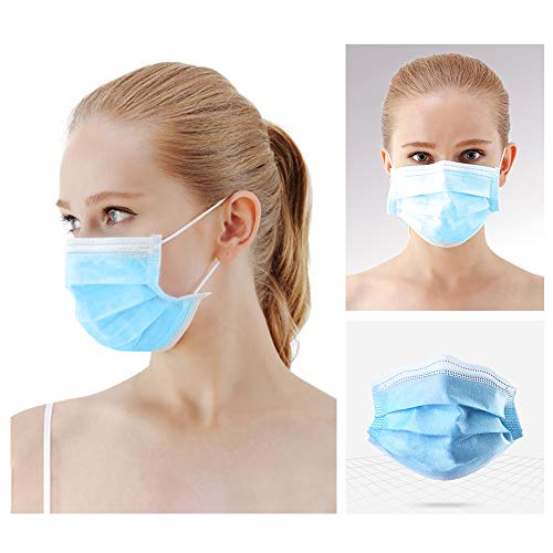 Decdeal Disposable Face Masks, 3 Layers of Filtering, Comfortable and Breathable, CE/PDA Certified, 50 Pieces