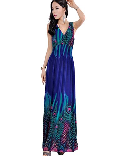Surfwheel Sexy V-neck Peacock Print V Neck Beach Dress Sundress