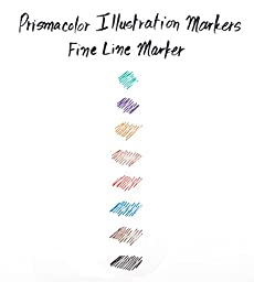 Prismacolor Premier Fine Line Illustration Markers, 05 Fine Tip, Assorted Colors, 8-Count
